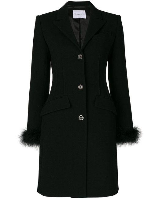 Sonia Rykiel - Black Feather Trim Button Coat - Lyst