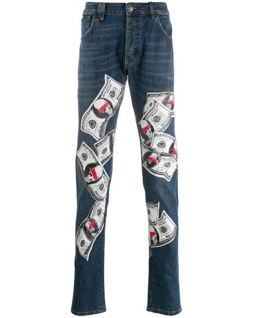 Philipp Plein Jeans mit Print in Blue für Herren