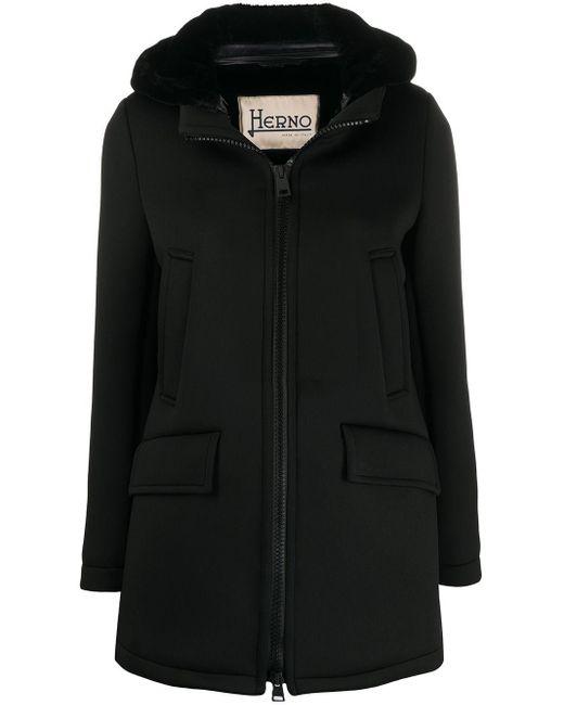 Herno ジップアップ フーデッドコート Black