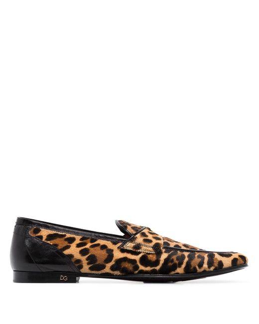 メンズ Dolce & Gabbana Erice レオパード ローファー Multicolor