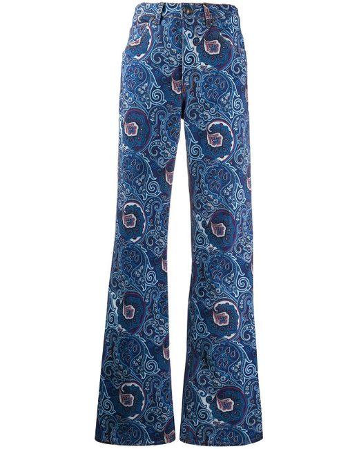 Расклешенные Джинсы С Принтом Пейсли Etro, цвет: Blue