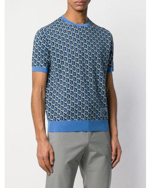 Prada Trui Met Geometrisch Patroon in het Blue voor heren