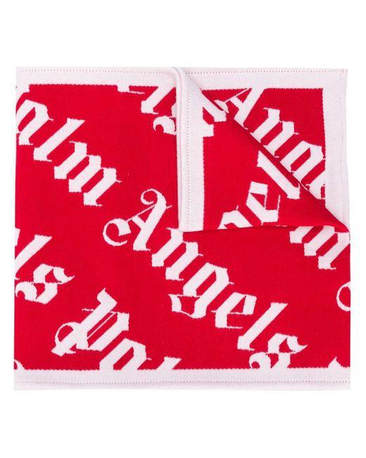 メンズ Palm Angels モノグラム スカーフ Red