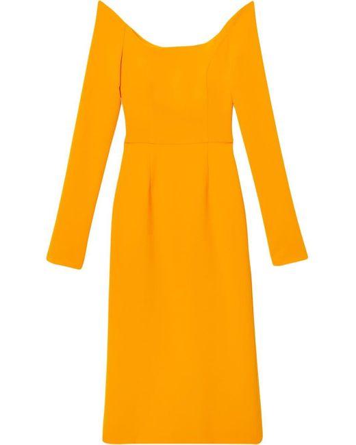 Carolina Herrera オフショルダー ドレス Yellow