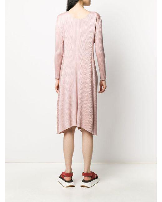 Pleats Please Issey Miyake Vネック プリーツドレス Pink