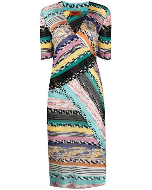 Missoni Pink Panelled Striped V-neck Dress