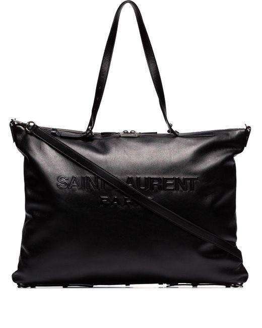 メンズ Saint Laurent ロゴ ハンドバッグ Black