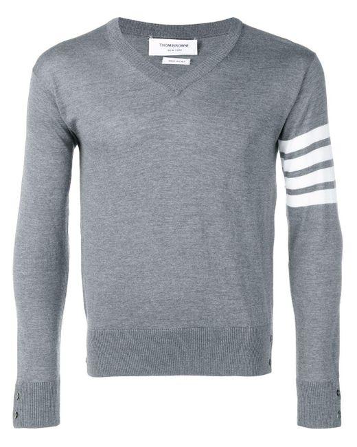 Тонкий Пуловер С V-образным Вырезом Thom Browne для него, цвет: Gray