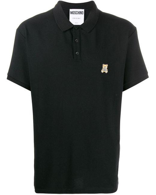 メンズ Moschino テディベア ポロシャツ Black