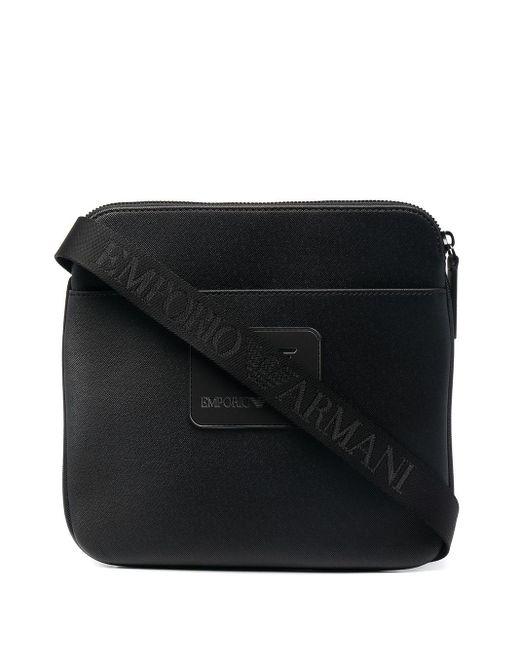 Emporio Armani Black Logo-patch Messenger Bag for men