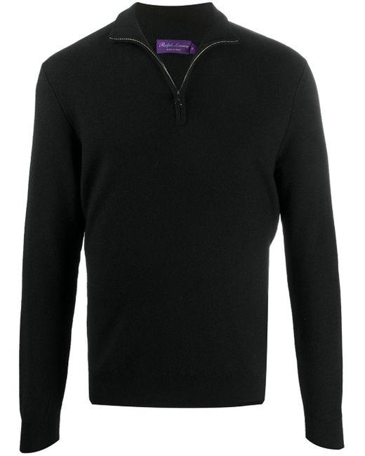 メンズ Ralph Lauren Purple Label ジップアップ リブセーター Black