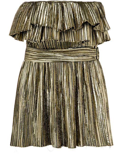 Metallic Ruffle Cocktail Dress Saint Laurent