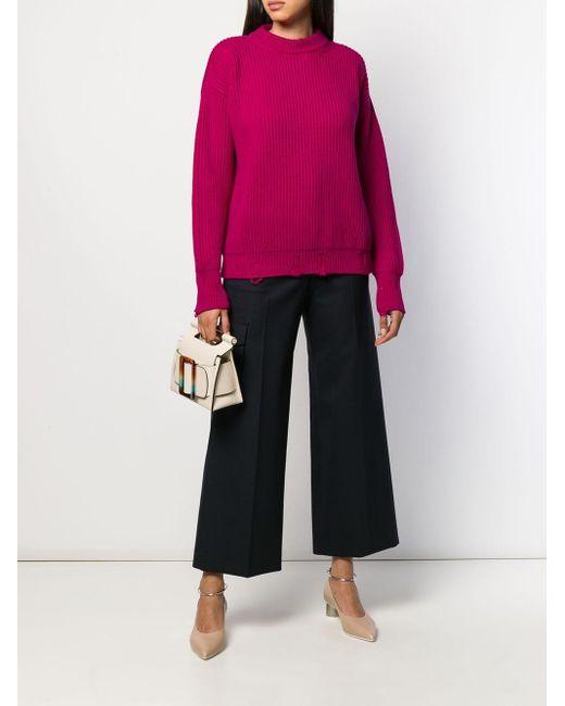 Pull en maille nervurée à effet usé Nina Ricci en coloris Pink