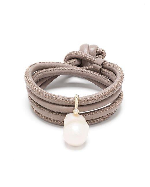 Bracelet en or 14ct orné de diamants et perles Mizuki en coloris Metallic