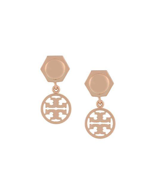 Tory Burch Logo Drop Earrings Metallic
