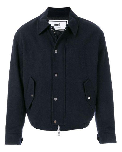 メンズ AMI キルトライニング ジップジャケット Blue