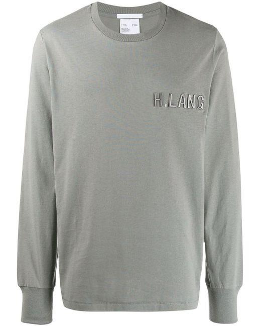 メンズ Helmut Lang ロゴ スウェットシャツ Gray