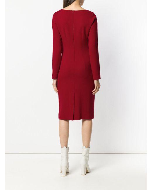long-sleeve bow midi dress - Red P.A.R.O.S.H. FpAU5jYc