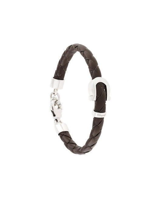 Ferragamo - Brown Woven Gancio Bracelet for Men - Lyst