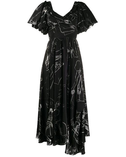 Alexander McQueen Cdc プリント ドレープドレス Black