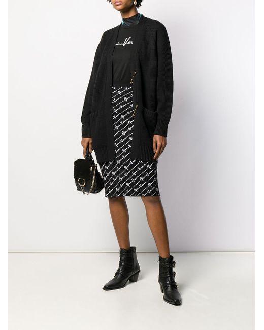 Versace Black T-shirt Aus Baumwoll-jersey Mit Print