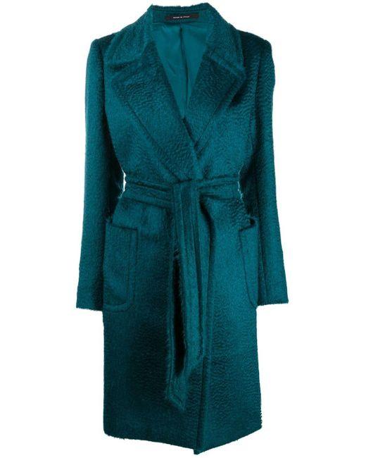 Tagliatore Green Belted Wool Coat