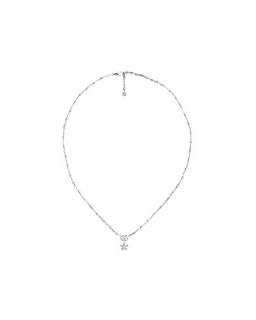 Gucci フラワー&ダブルg ダイヤモンド ネックレス 18kホワイトゴールド Metallic