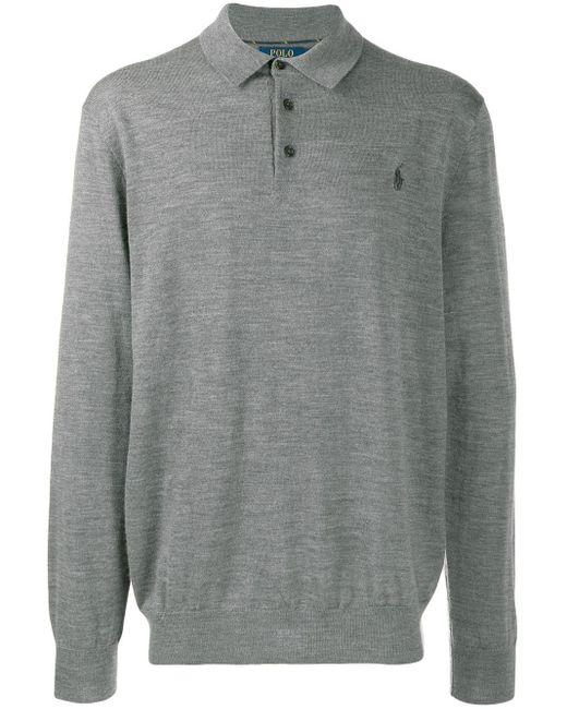 メンズ Polo Ralph Lauren ボタン セーター Gray
