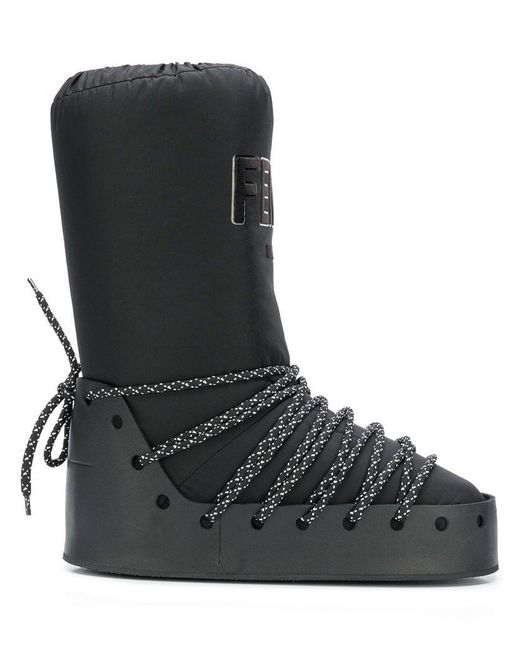 Fendi - Black Logo Moon Boots - Lyst