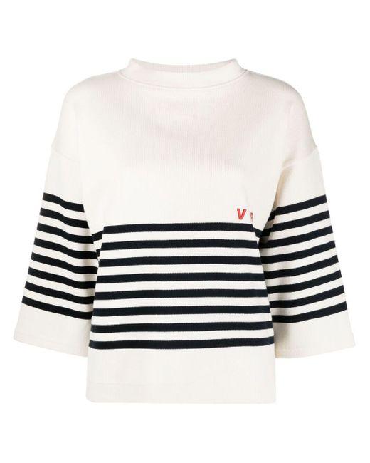 Victoria, Victoria Beckham White Striped Logo-print Jumper