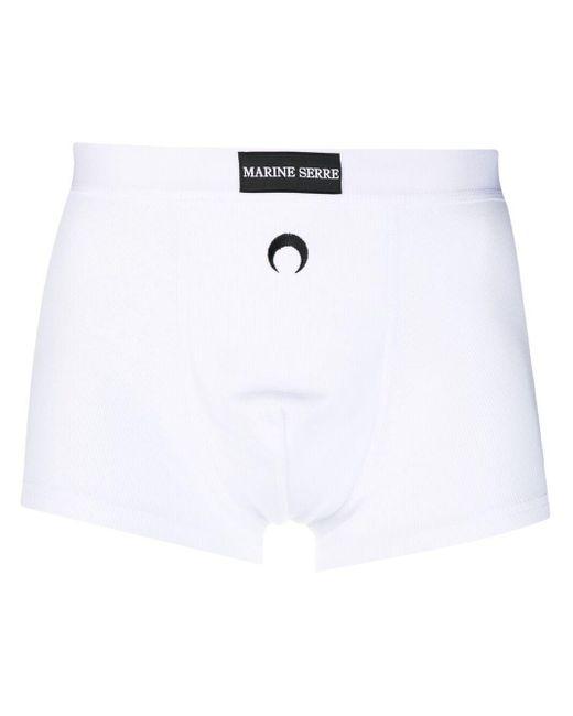 メンズ MARINE SERRE リブ ボクサーパンツ White