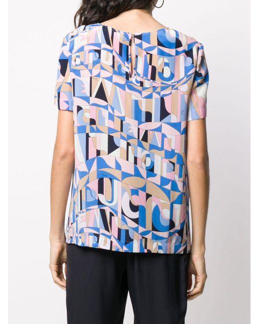 Emilio Pucci プリント Tシャツ Blue