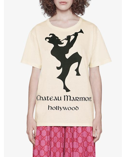 218fb256 Gucci Cotton Oversize T-shirt With Chateau Marmont Print in White - Lyst