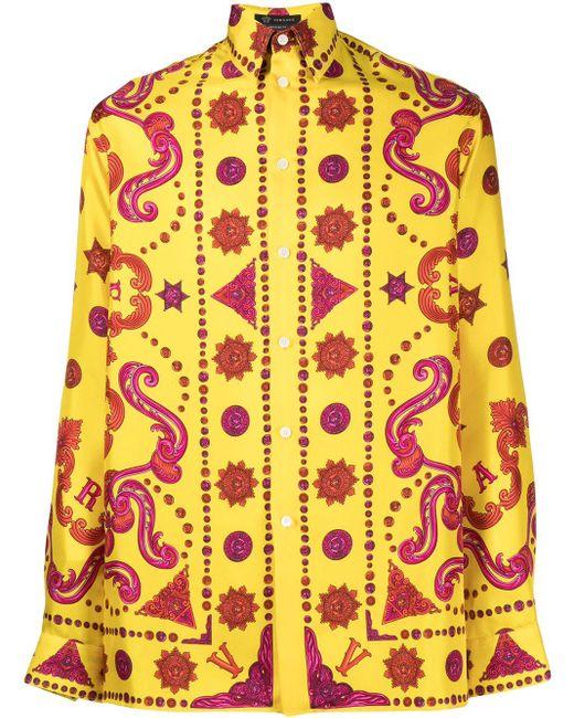 メンズ Versace プリント シャツ Yellow