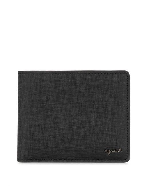 Agnes B. Black Logo Plaque Wallet for men