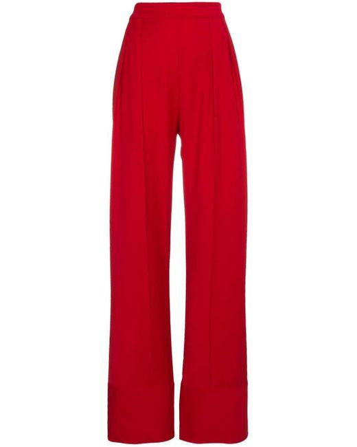 Michael Lo Sordo Red High Waist Wide Leg Trousers