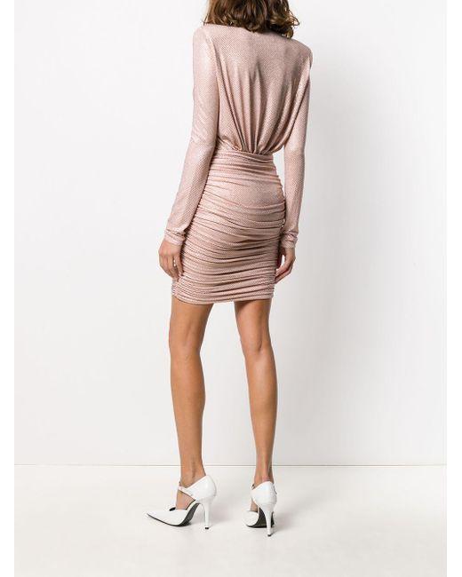 Alexandre Vauthier Vネックドレス Pink