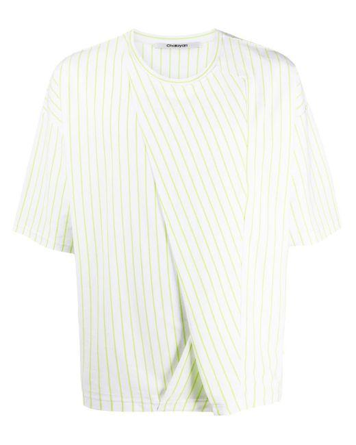 Chalayan ストライプ パネル Tシャツ White
