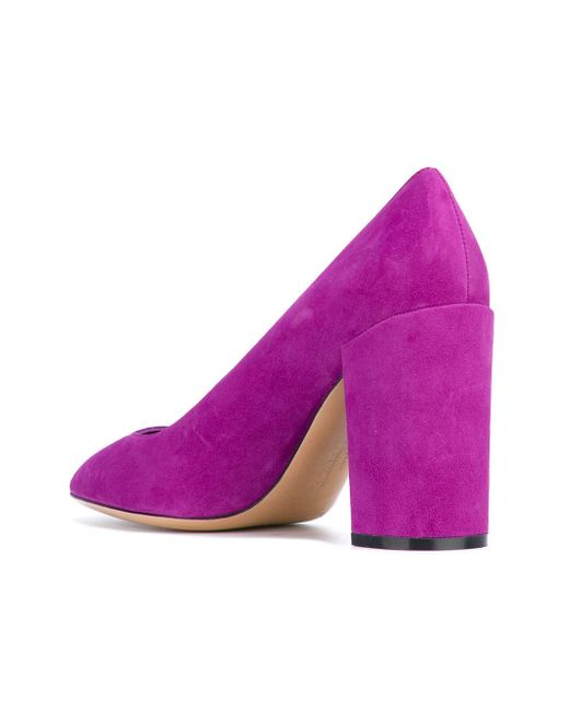 Ferragamo Block Heel Pumps in Purple | Lyst
