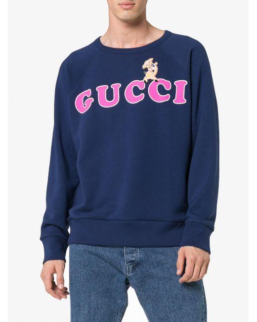 メンズ Gucci ロゴ スウェットシャツ Blue