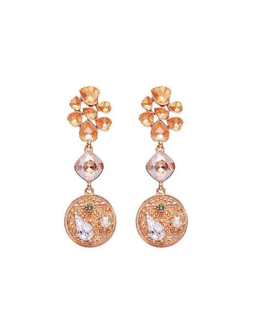 Oscar de la Renta Metallic Crystal-embellished Clip-on Earrings