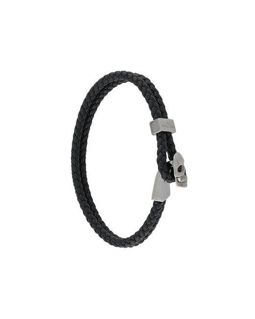 Northskull - Black Woven Streling Silver Skull Bead Bracelet - Lyst