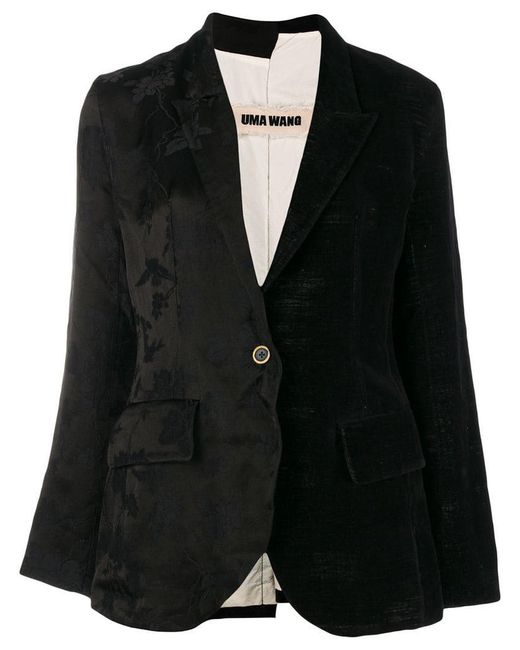 Uma Wang - Black Floral Jacquard Blazer - Lyst
