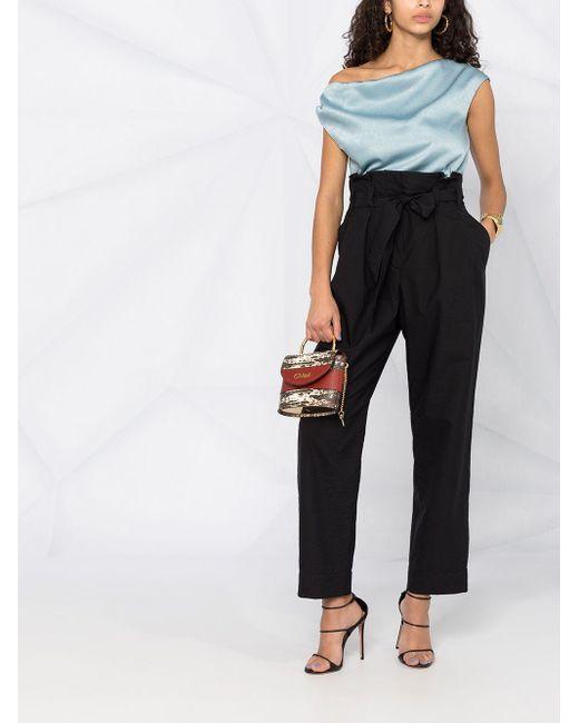 Pantalones de talle alto con cinturón Brunello Cucinelli de color Black
