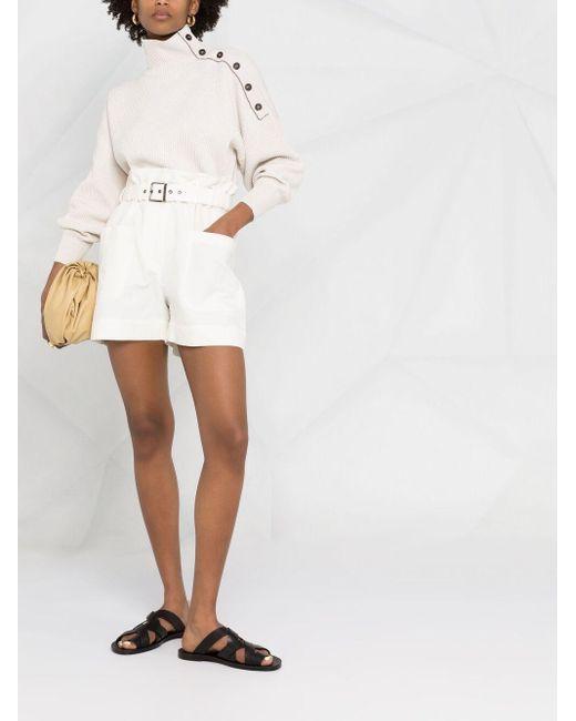 Джемпер В Рубчик С Пуговицами На Плече Brunello Cucinelli, цвет: White