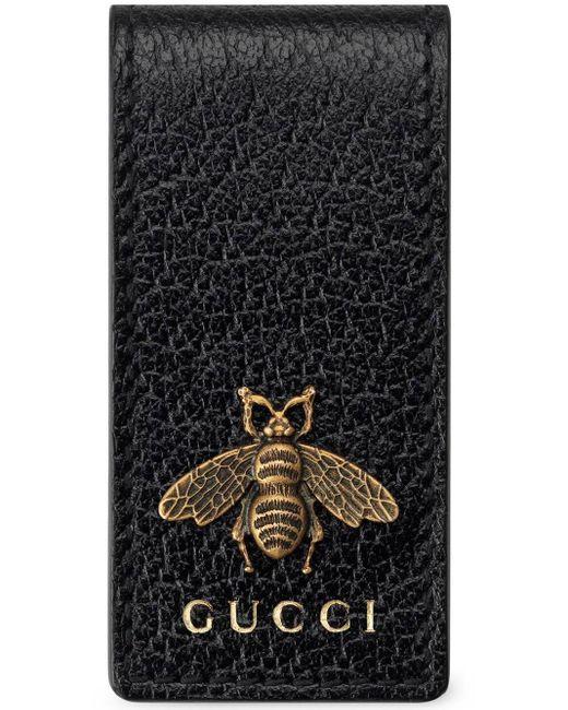 メンズ Gucci 【公式】 (グッチ)〔アニマリエ〕レザー マネークリップブラック レザーブラック Black