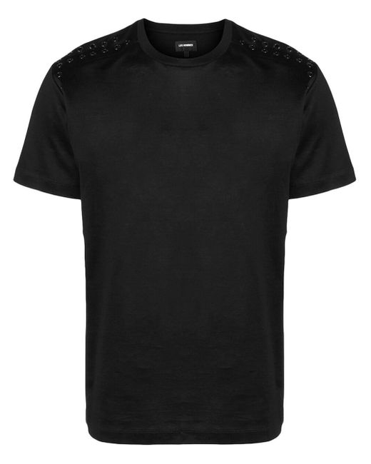 メンズ Les Hommes アイレットトリム Tシャツ Black