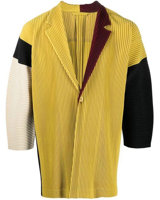 メンズ Homme Plissé Issey Miyake カラーブロック ジャケット Yellow