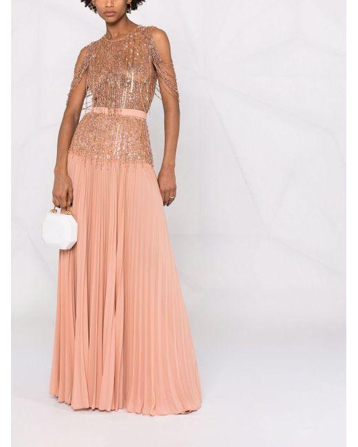 Elisabetta Franchi Pink Rückenfreie Robe mit Perlen