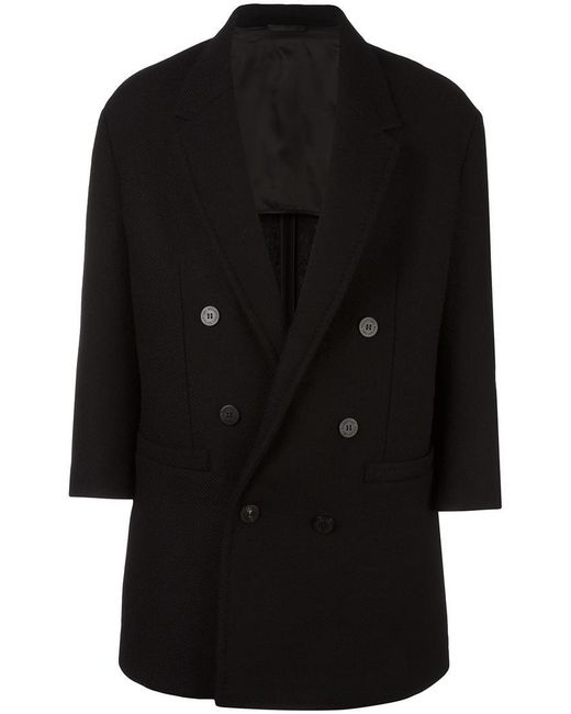 Neil Barrett - Black Oversize Double-breasted Coat - Lyst